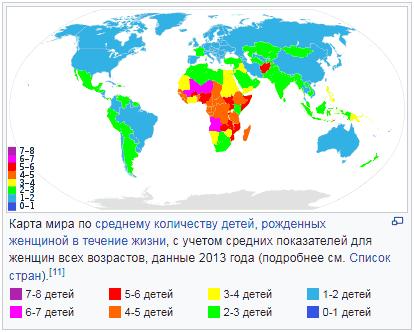Карта мира по среднему количеству детей, рожденных женщиной в течение жизни
