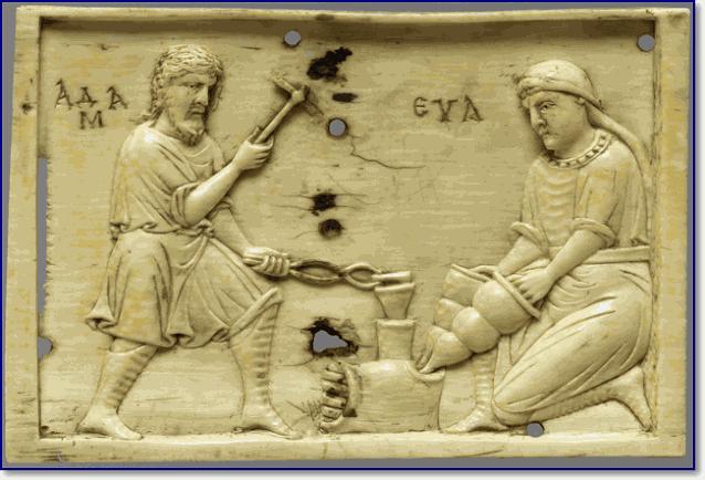 Адам и Ева в кузне. Византийская пластина X века из слоновой кости.