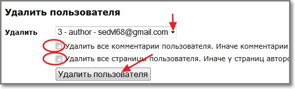 Выбираем пользователя из списка и удаляем