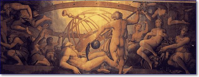 Оскопление Урана Кроном картина Джорджо Вазари и Жерарди Христофано