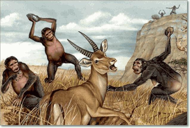 охота гоминид на антилопу