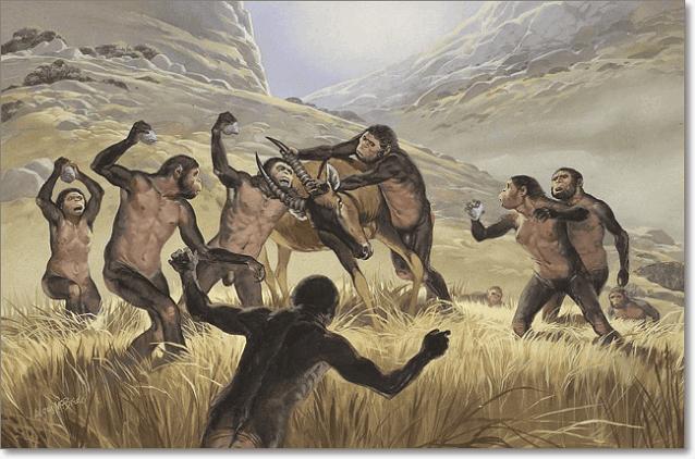 охота гоминид в саванне