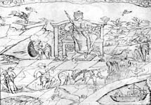 Аллегорическое изображение лета: жатва хлебов, сенокос, пастьба скота, ловля рыбы