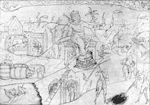Аллегорическое изображение осени: молотьба, забой скота