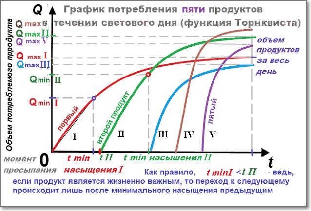 Схема потребления ПЯТИ продуктов