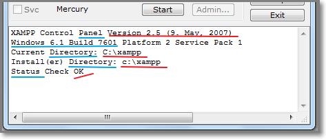 В нижней части панели видны версии программ и их статус