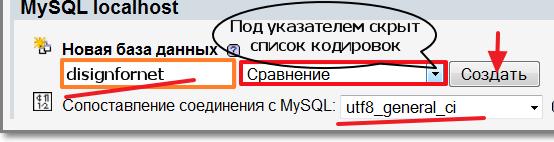 Вставляем имя новой базы и выбираем кодировку