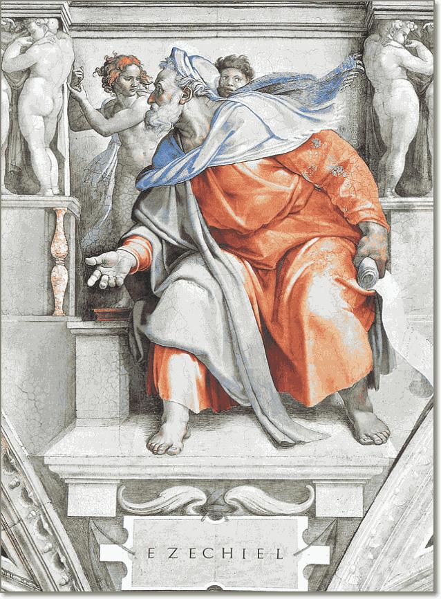 пророк Иезекииль на фреске Рафаэля в Сикстинской капелле