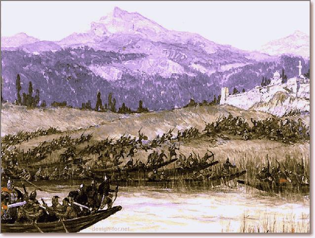 предполагаемый набег викингов и руси на города на побережье Каспийского моря