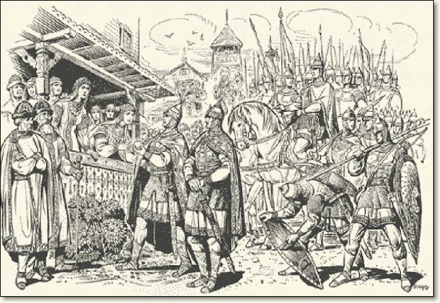 Аскольд и Дир отпросились у Рюрика на службу в Царьград со своим родом