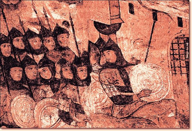 Фреска русь у стен Константинополя