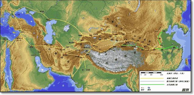 шелковый путь маршрут на карте