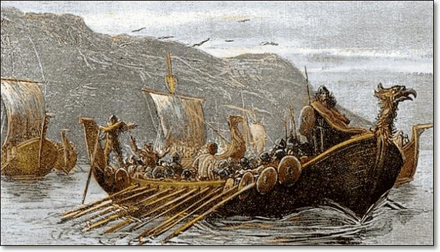викинги могли грабить селения вдали от берегов, так как их ладьи драккары могли плавать по рекам