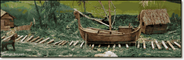 перемещение судов по бревнам через волок на другую реку