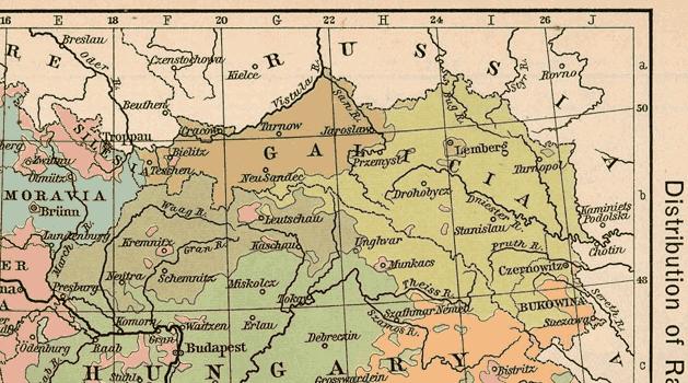 Галиция на карте Австро-Венгрии