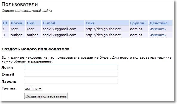 Страница где можно создать нового автора сайта