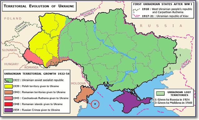 Формирование территории УССР с 1922 по 1954 год