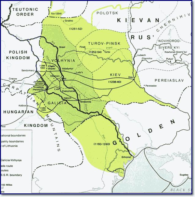 Карта Галицко-Волынского княжества с изменениями границ