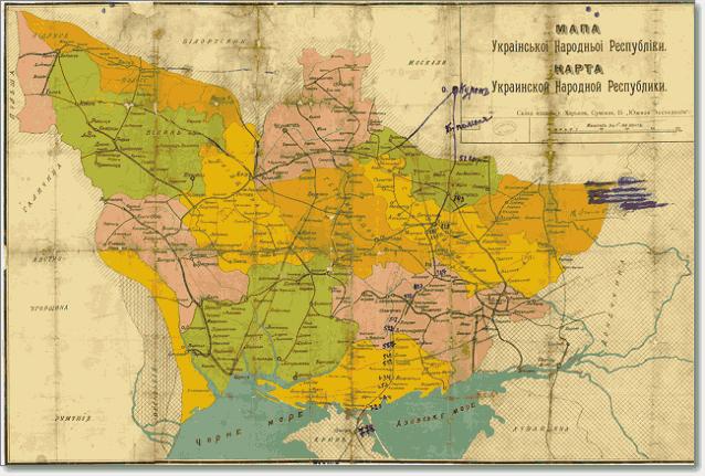 Карта УНР 1918 год