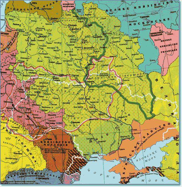 Границы современной Украины на карте Польши и ВКЛ