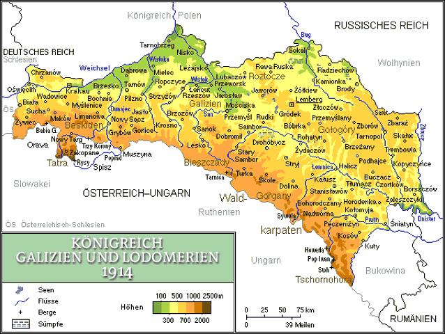 физическая карта Королевства Галиции и Лодомерии