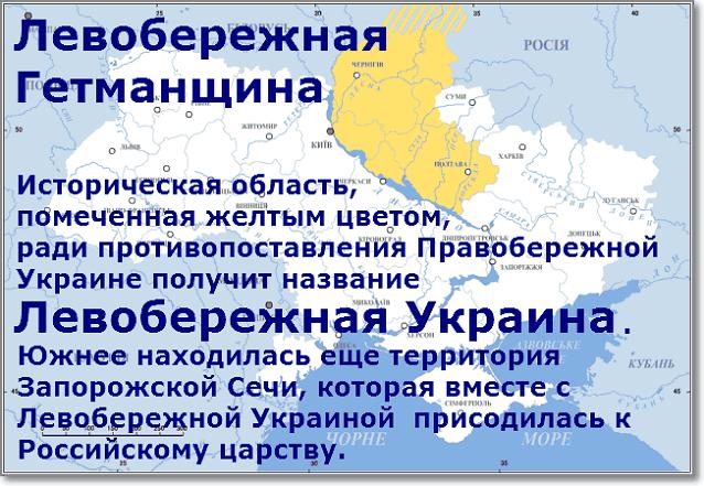 Термин Левобережная Украина был противопоставление термину Правобережная Украина