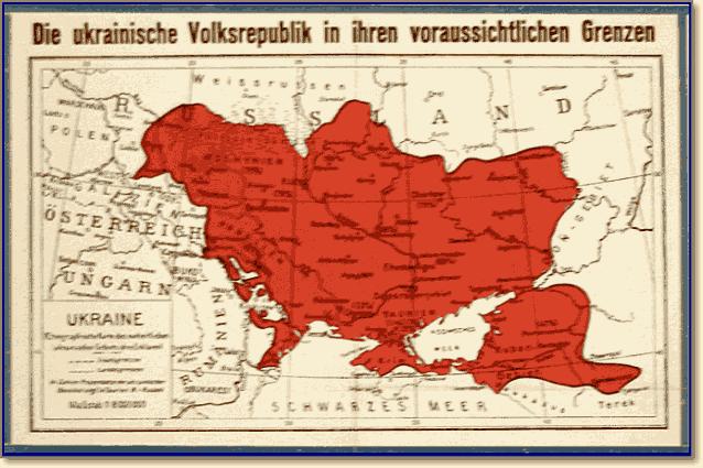 Немецкая карта Украинской Державы Скоропадского с претензиями на Кубань и Северный Кавказ