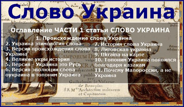Оглавление ЧАСТИ 1 статьи СЛОВО УКРАИНА