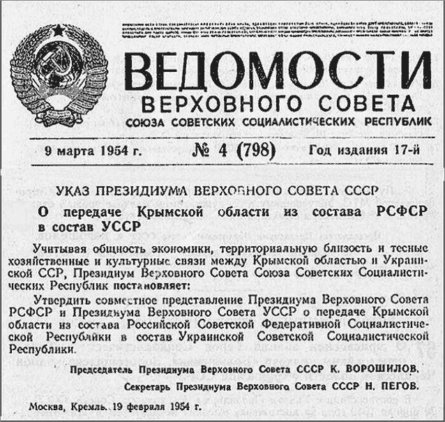 передача Крыма Украине в 1954 году