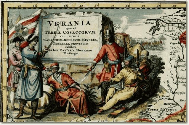 Оглавление карты содержит пояснение - Украина земля казаков