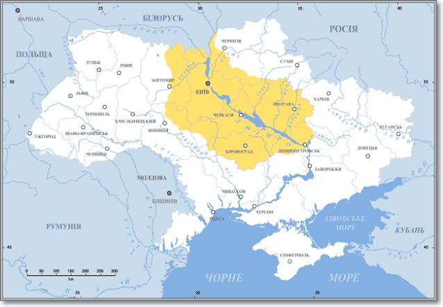 Наддепрянская Украина карта