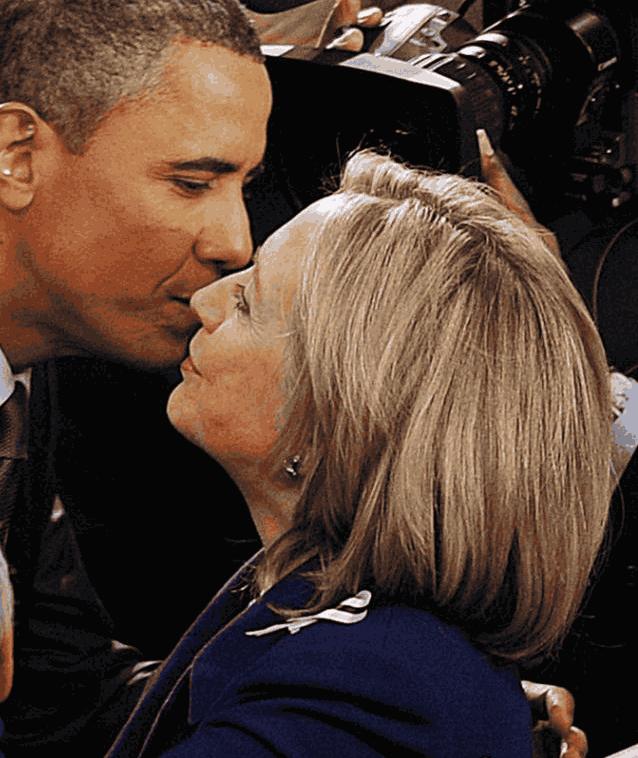 Обама Хиллари целуются