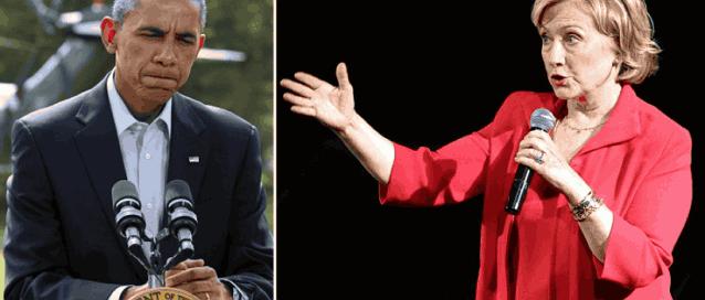 коллаж Обамы и Хиллари